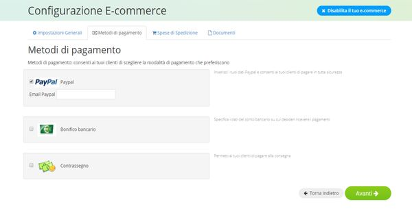 Creare un e-commerce con Oneminutesite