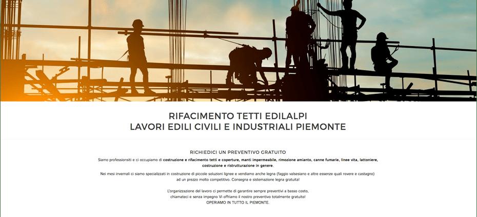 screenshot del sito di un'impresa edile