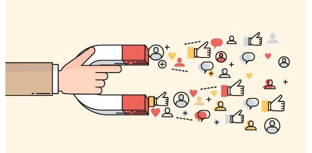 magnete che attira condivisioni social