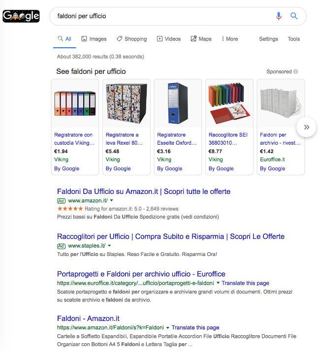 faldoni per ufficio ricerca Google