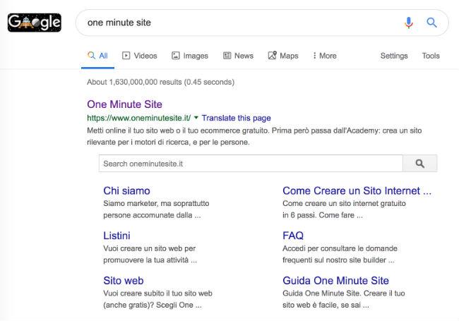 one minute site risultato di ricerca google