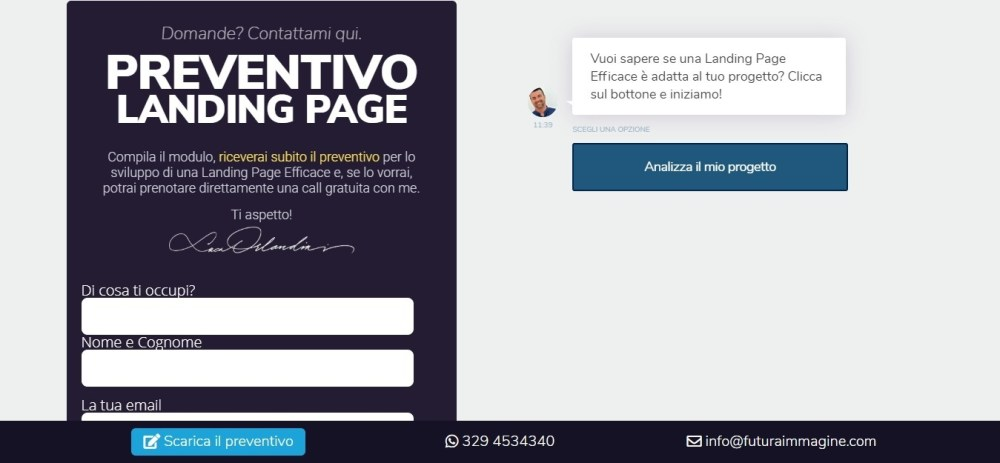 Landing page efficace: Luca Orlandini