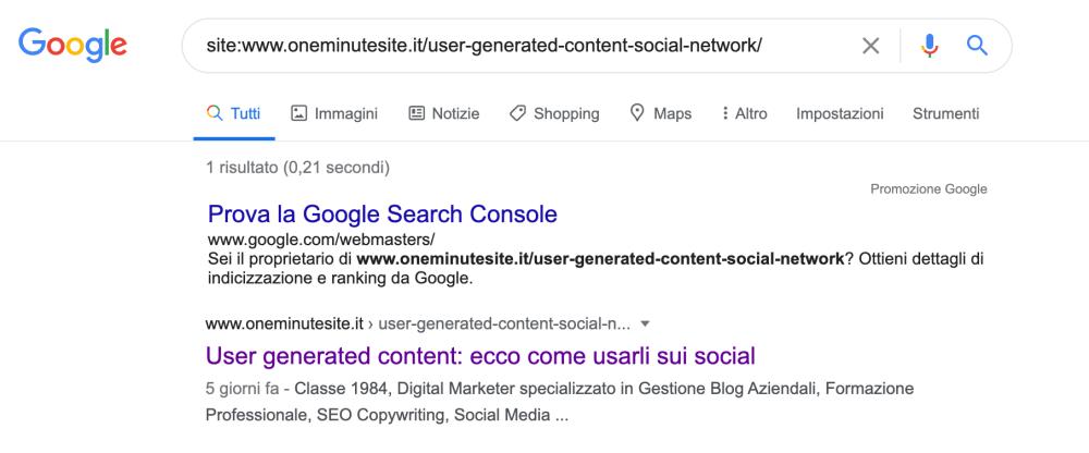Come verificare se una pagina specifica è in indice google