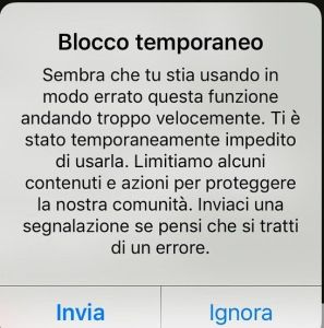 Blocco temporaneo Instagram