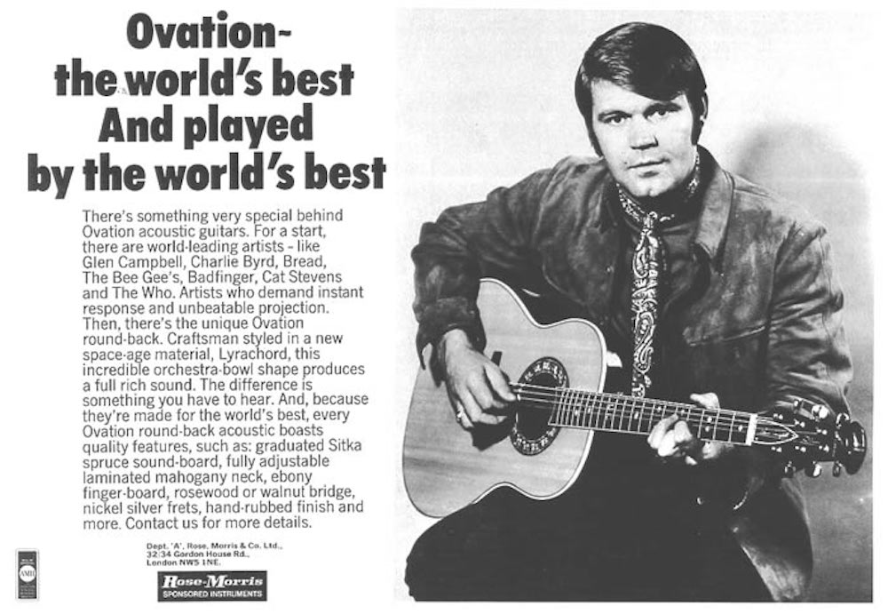 Glen Campbell Ovation advertising