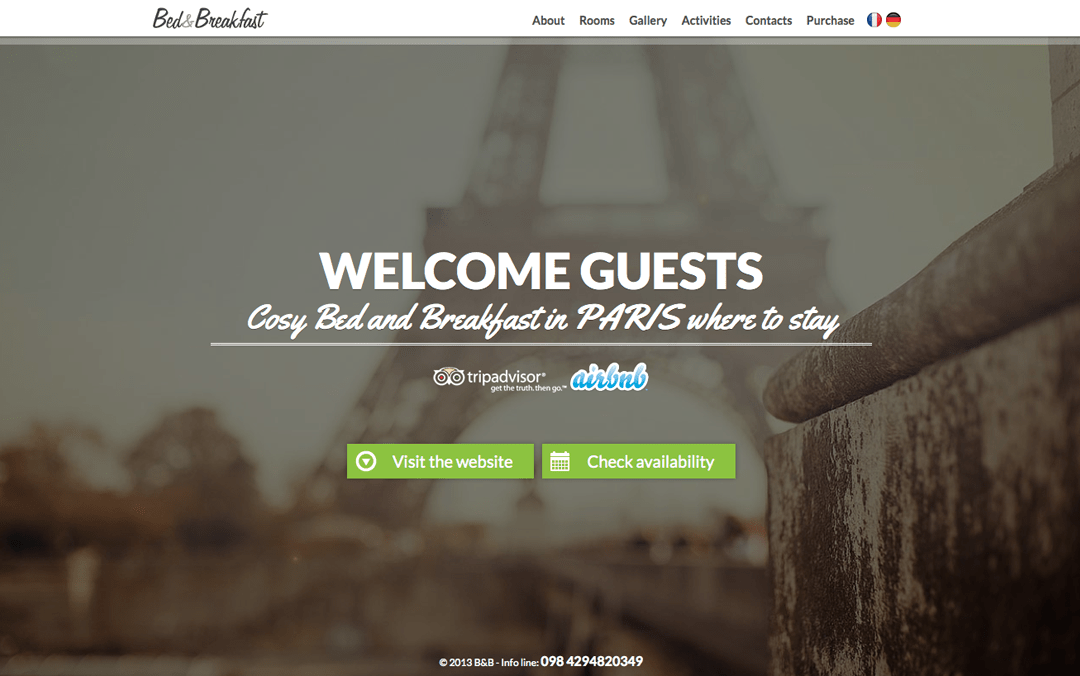 Bed & Breakfast Theme | One Page Mania