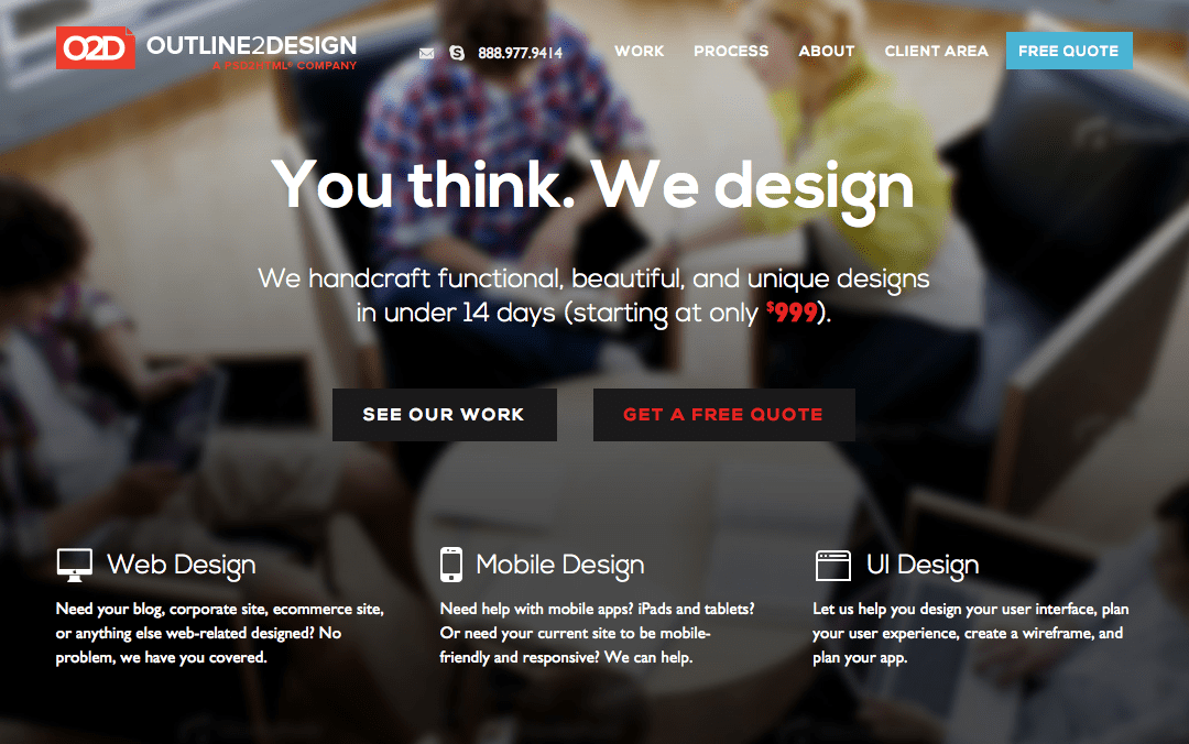 outline2design one page websites