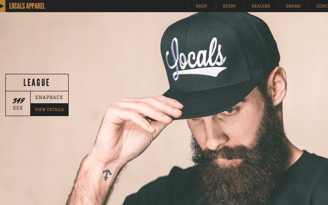 Locals Apparel one page website