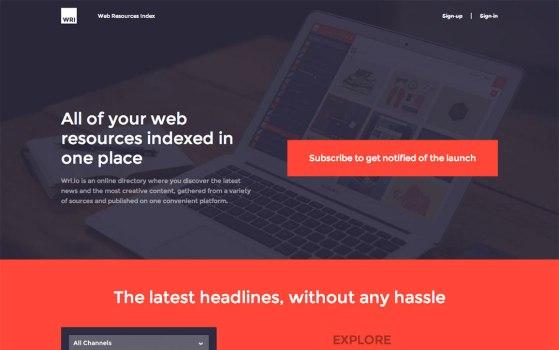 wri.io clean landing page design
