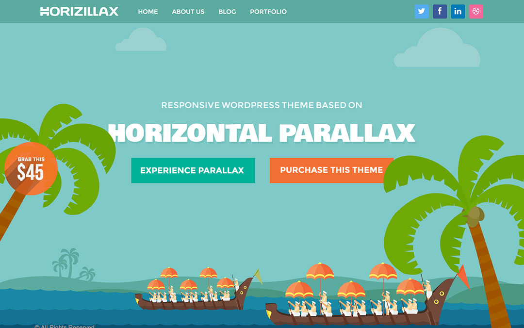 Horizontal Scrolling Parallax Theme for Wordpress