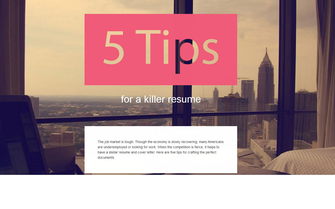5 tips for a killer resume - one pager