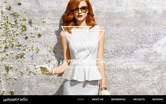 one page portfolio of veronika woell, a freelance fashion art director
