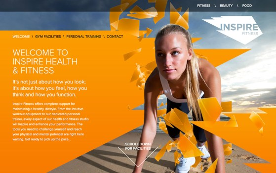 one page fitness websites