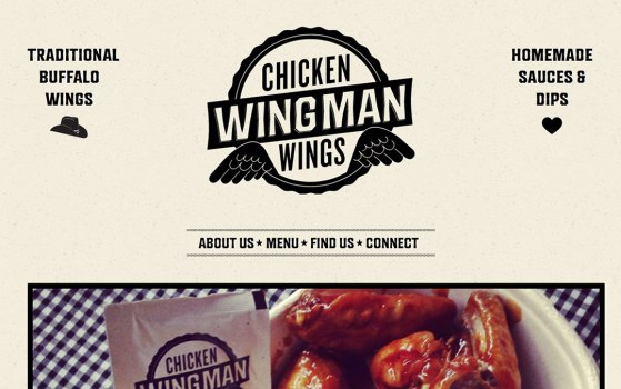 wingman one page restaurant website