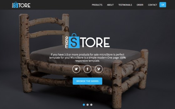 one page shopping cart website