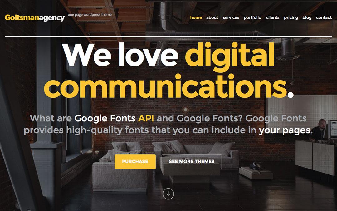 one page wordpress website