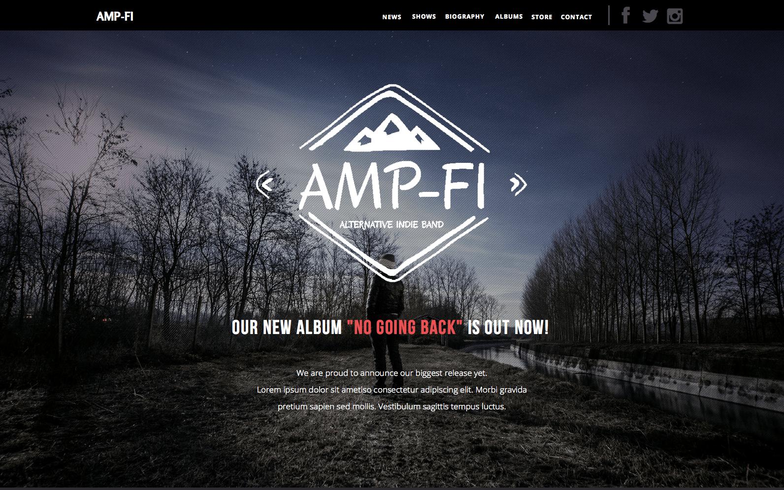 Amp-Fi - OnePage Music Band Muse Template