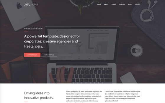 altius one page template