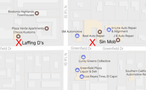 Laffing Devils MC clubhouse Greenfield Drive El Cajon Map