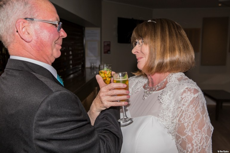 The Happy Couple: Pete and Ann Enjoy a Celebration Glass of Champagne.