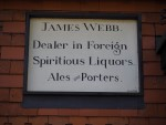 """The Star, East Ilsley: Engraved Stone """"James Webb Dealer in Foreign Spiritious Liquors, Ales and Porters circa 1500""""."""