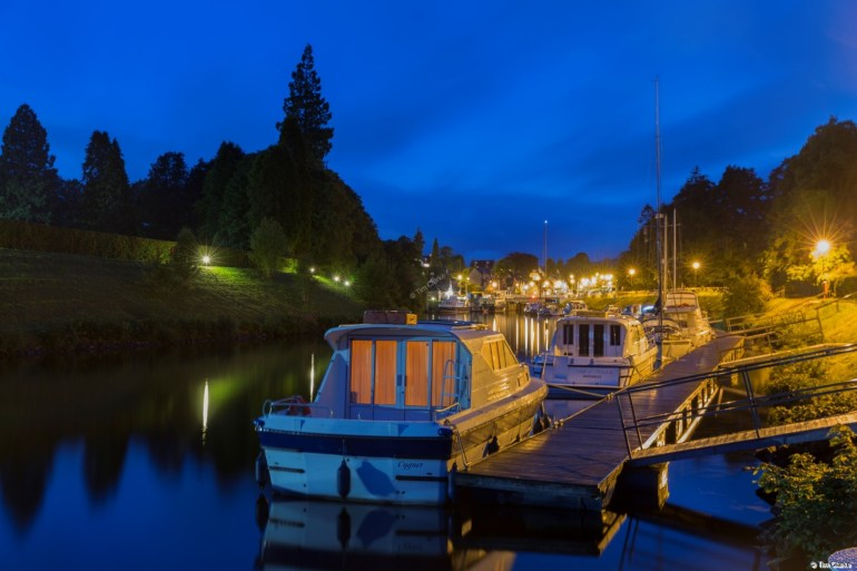 Fort Augustus Moorings: View looking towards the Locks from Loch Ness at Night.