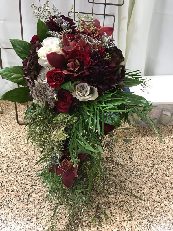 Burgandy cascade brides bouquet
