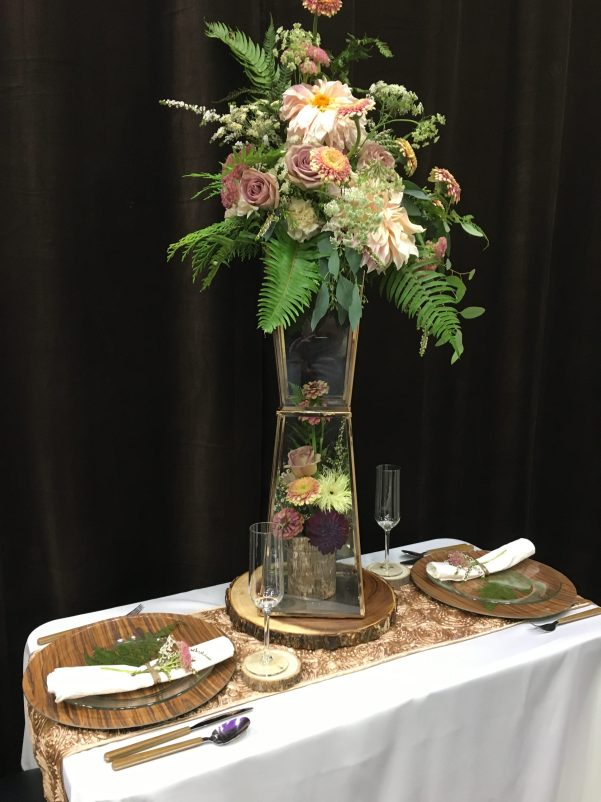 geometric floral arrangement