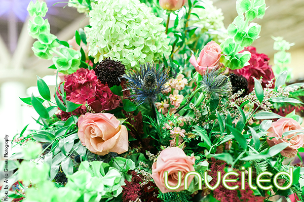 Blue blush green burgandy floral arrangement