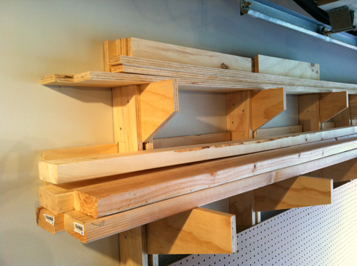 build a wall mounted lumber storage rack