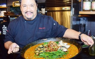 Chef Robby Goco and his P100 for 5 dish, Kare-kare Rice with Binagoongang Tokwa