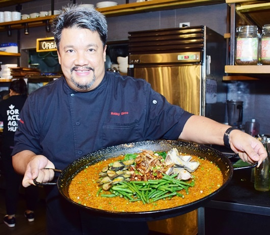 Chef Robby Goco and his P100 for 5 dish, Kare-kare Rice with Binagoongang Tokwa