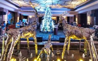 Crimson Hotel Shine and Sparkle upcycled Christmas decorations by artist Jevie Pagpaguitan