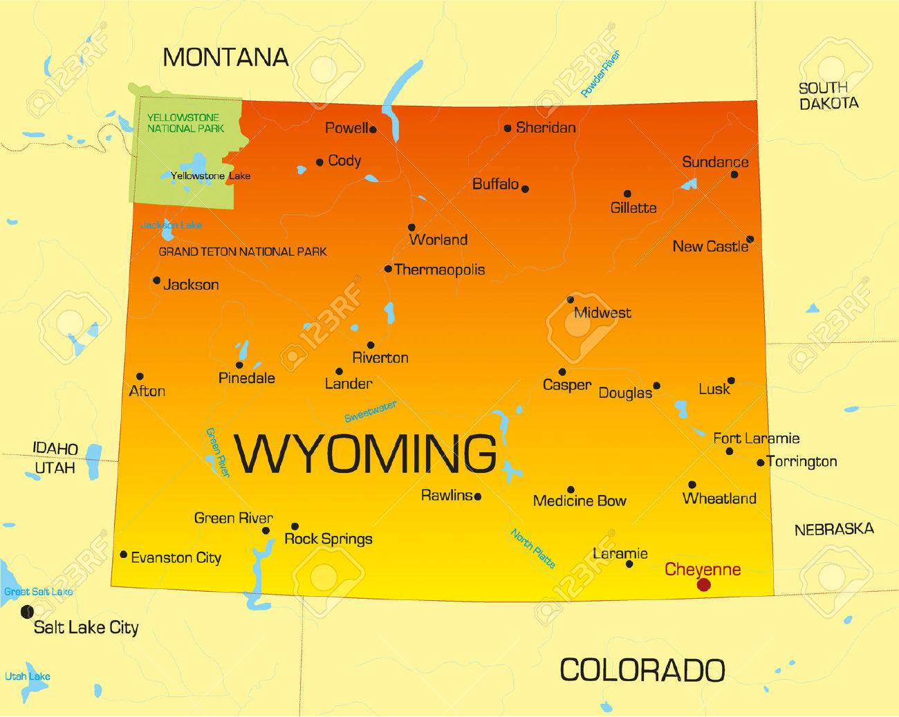 Wyoming Clipart Vector Color Map Of Wyoming State