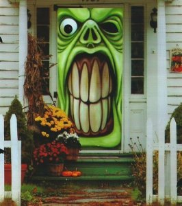 Halloween front door cover, goblin door cover, outdoor decorations, halloween outdoor decor, halloween goblin decor, halloween door cover