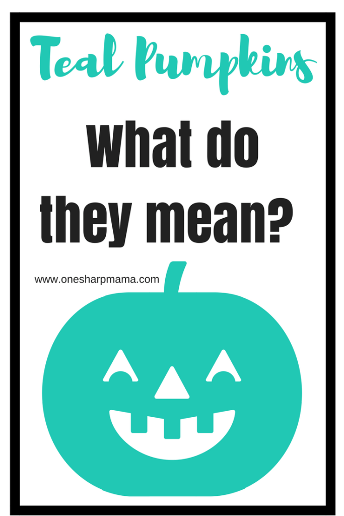 The teal pumpkin project. It is to raise awareness about children with food allergies and how to support them in a fun and safe Halloween way. Safe Halloween treat ideas can be found here.