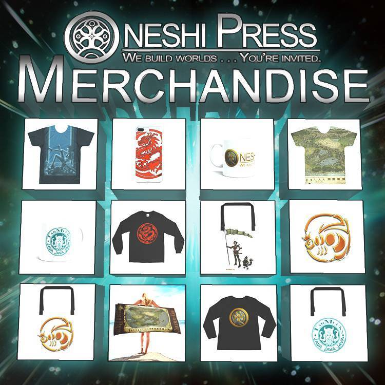 Oneshi press Merchandise including apparel, accessories, drink-ware, and home goods