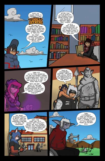 PJ the Villain Harpers' intro comic page for Oneshi Press Comics Anthology #8, featuring his OC's from his comic Finders Seekers
