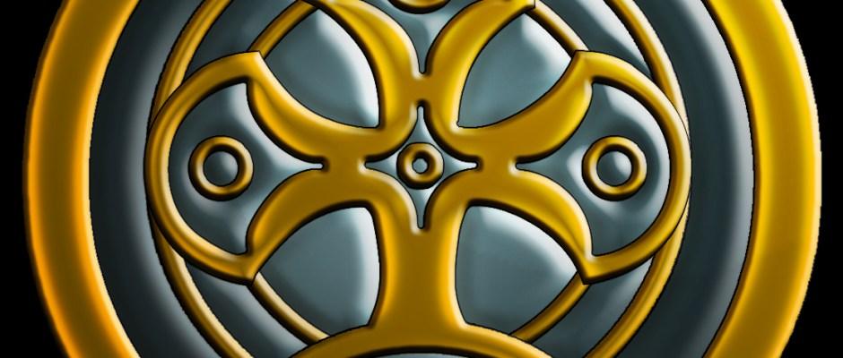Oneshi Press - Logo - Crest of Mithera - square on Black
