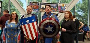 cap and cap at the oneshi press table lilac city comicon 2019