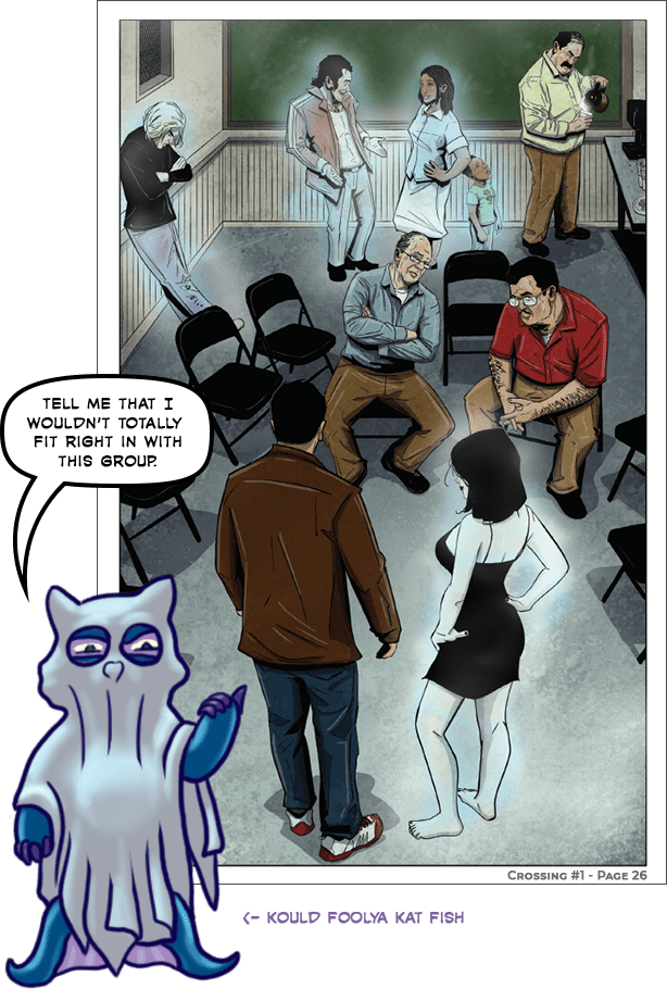 """K.F. Kat Fish stands in front of Page 24 from the first issue of the Crossing comic book series. He is wearing a sheet with eye-holes cut out in it, like the classic halloween ghost costume. He is saying """"Tell me that I wouldn't totally fit right in with this group"""". He is labeled Kould Foolya Kat Fish."""