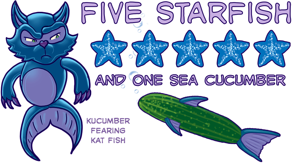 This image shows the better than  five out of five star rating that K.F. Kat Fish has given Crossing. It's official score is Five Starfish and a sea cucumber. there is an illustration of K.F. Kat Fish suspiciously eyeing the sea cucumber. He is labeled Kucumber Fearing Kat Fish