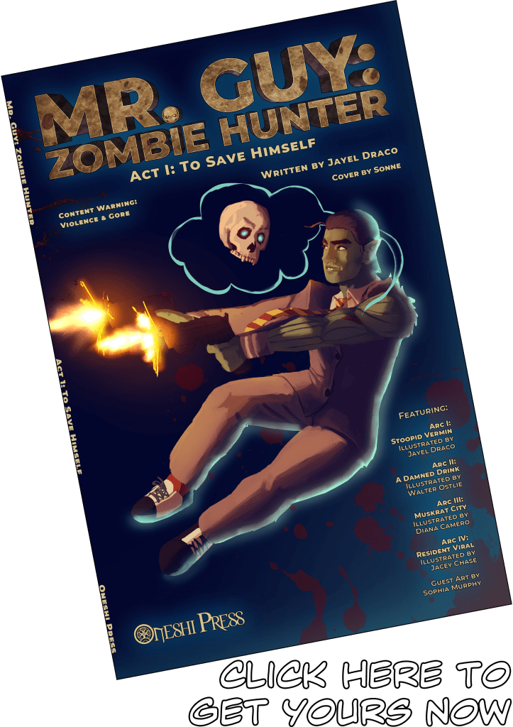Cover art of Mr. Guy: Zombie Hunter: Act 1 by Sonne shows Mr. Guy, a goblin who hunts zombies, leaping backward as he fires two handguns off the cover, with his sidekick, a spectral skull, hovering over him.