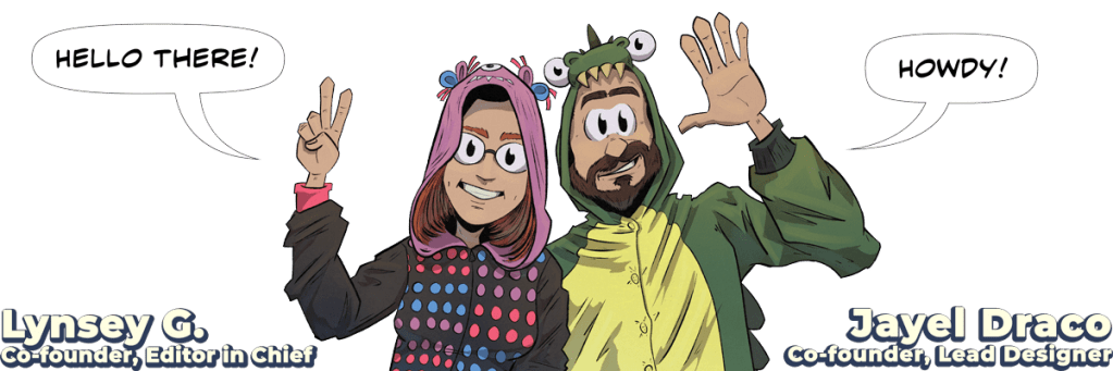 Cartoon image of Oneshi Press co-founders Lynsey G and Jayel Draco
