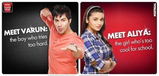 Varun Dhawan and Alia Bhatt in Nestle Fruita Vitals Ads