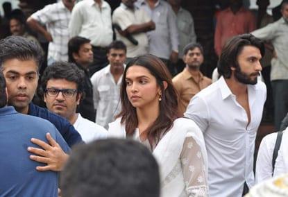 Shah Rukh Khan, Karan Johar, Ranbir Kapoor, Ranveer Singh, Manish Malhotra, Puneet Malhotra and Deepika Padukone at Priyanka Chopra' Father Funeral