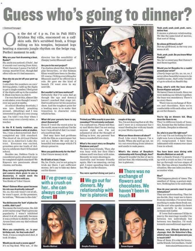 Ranbir Kapoor Talks about Nandita, Sonam and Deepika in an Old Interview
