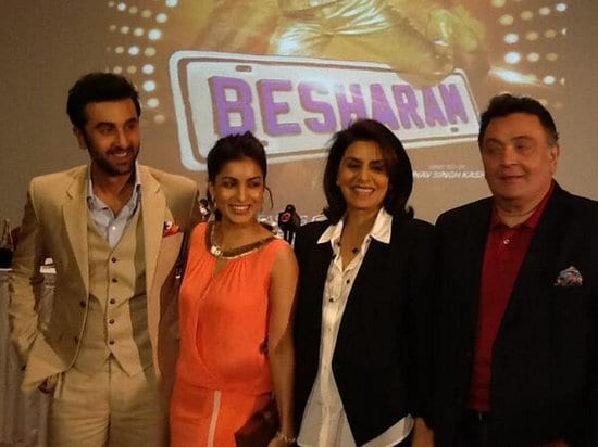 Ranbir Kapoor, Neetu Singh, Rishi Kapoor and Pallavi Sharda at the Besharam Press Conference in Dubai