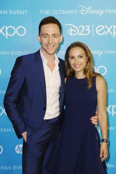 Tom Hiddleston, Natalie Portman and Anthony Hopkins at the Disney D23 Expo
