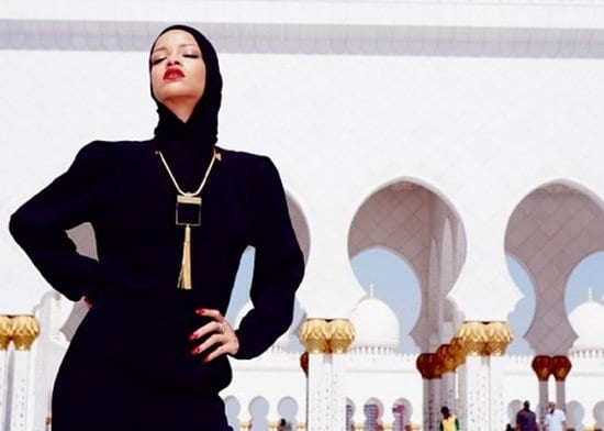 Rihanna at the Sheikh Zayed Grand Mosque in Abu Dhabi